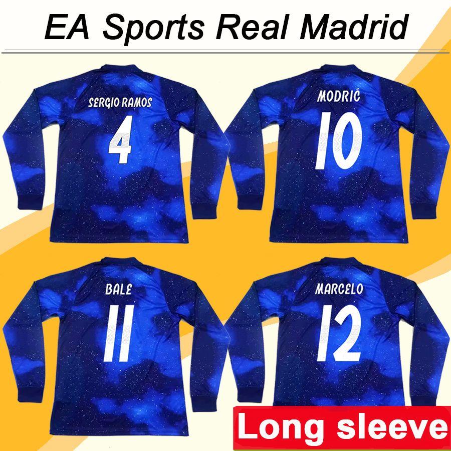 19 EA Sports Real Madrid VINICIUS JR MARCELO Camisetas De Fútbol De Manga  Larga Especiales MODRIC SERGIO RAMOS KROOS BENZEMA ISCO BALE Tailandia  Camisetas ... 1e3a2a56d2d74