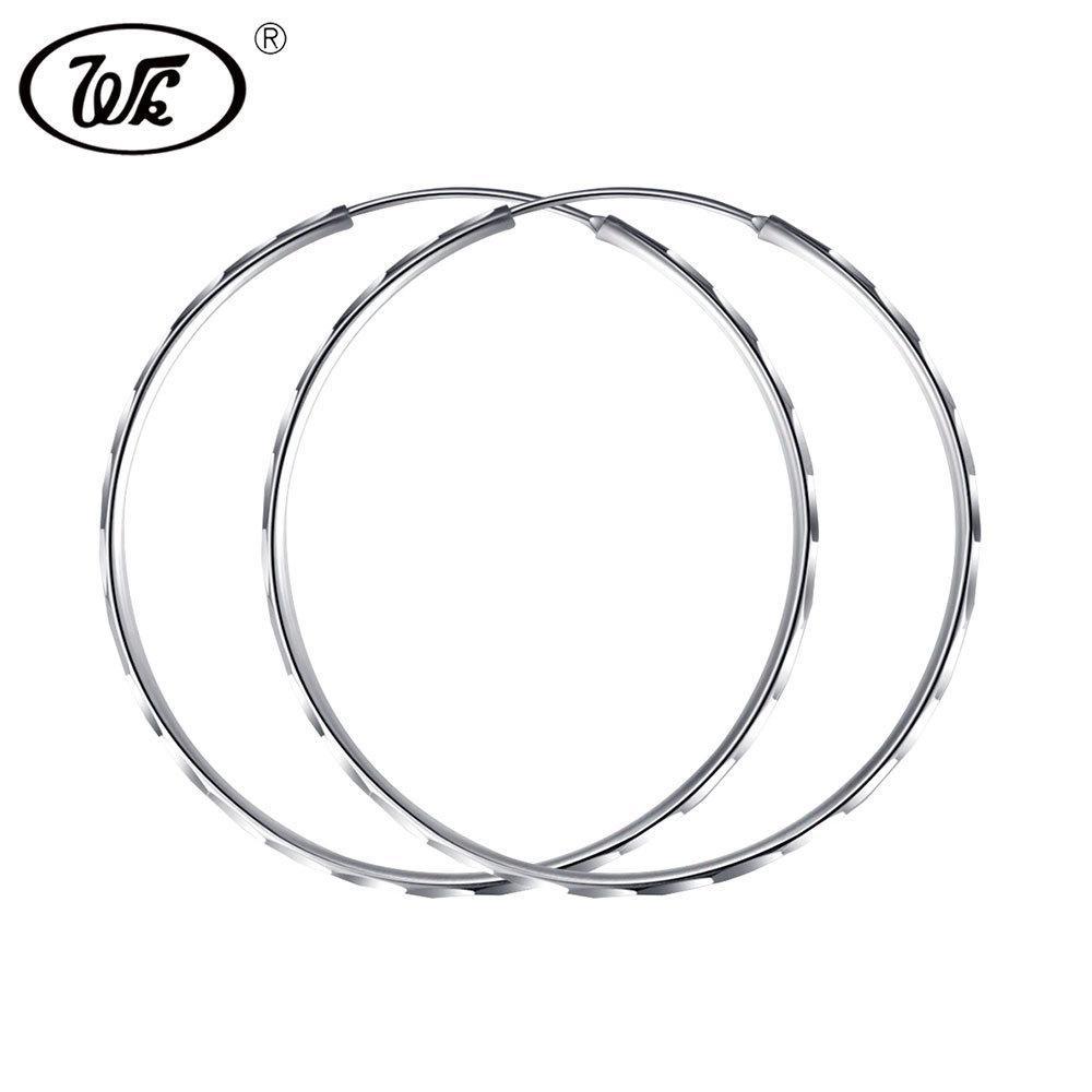 2019 Wk 925 Sterling Silver Big Hoop Earrings Large Round Circle Ear