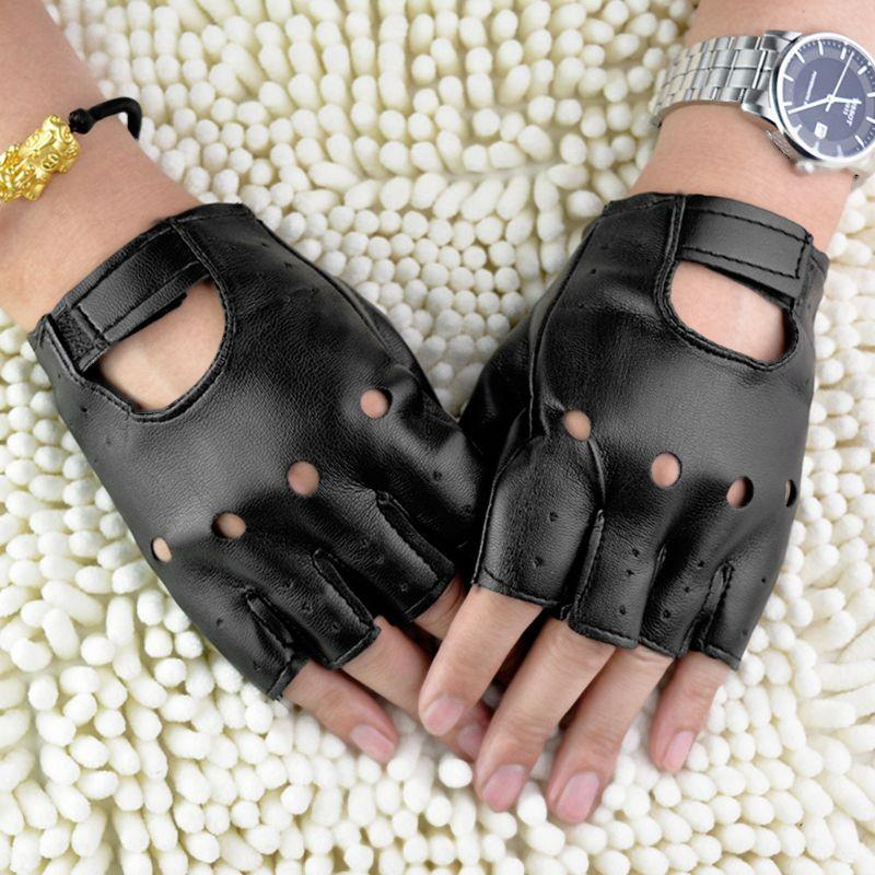 New Men Faux Leather Slip-Resistant Half Finger Fingerless Gloves Hand Wrist Mittens Hollow Out Black Driving Motorcycle Unlined