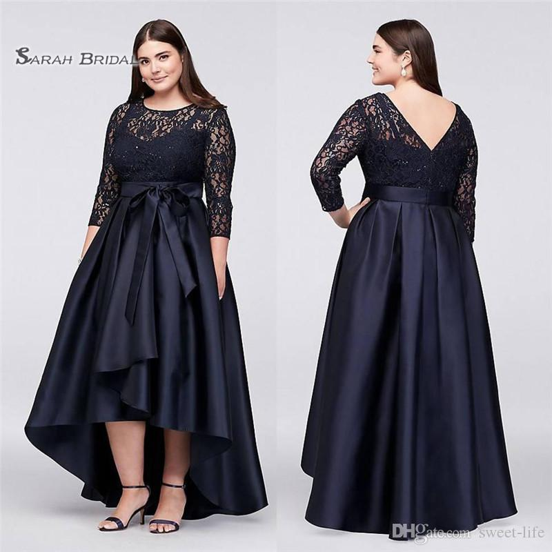 222ca651e50 2019 Jewel Lace Evening Gowns A Line Plus Size High Low Formal ...