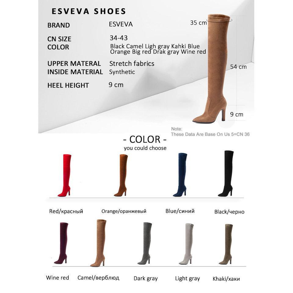 Herbst Damen High 34 Prosperoot 2019 Stoffe Esveva Stretch Großhandel 43 Overknee Dünne Schuhe Größe Spitz Heels Von Stiefel 8kw0PnOX