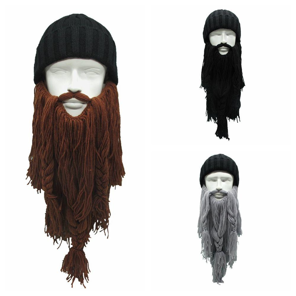 b9904e5d53b5e High Quality Women Men s Warm Wool Handmade Beanie Viking Beard Face Mask  Crochet Winter Ski Cosplay Prop Caps Hats Funny Gift C18112301