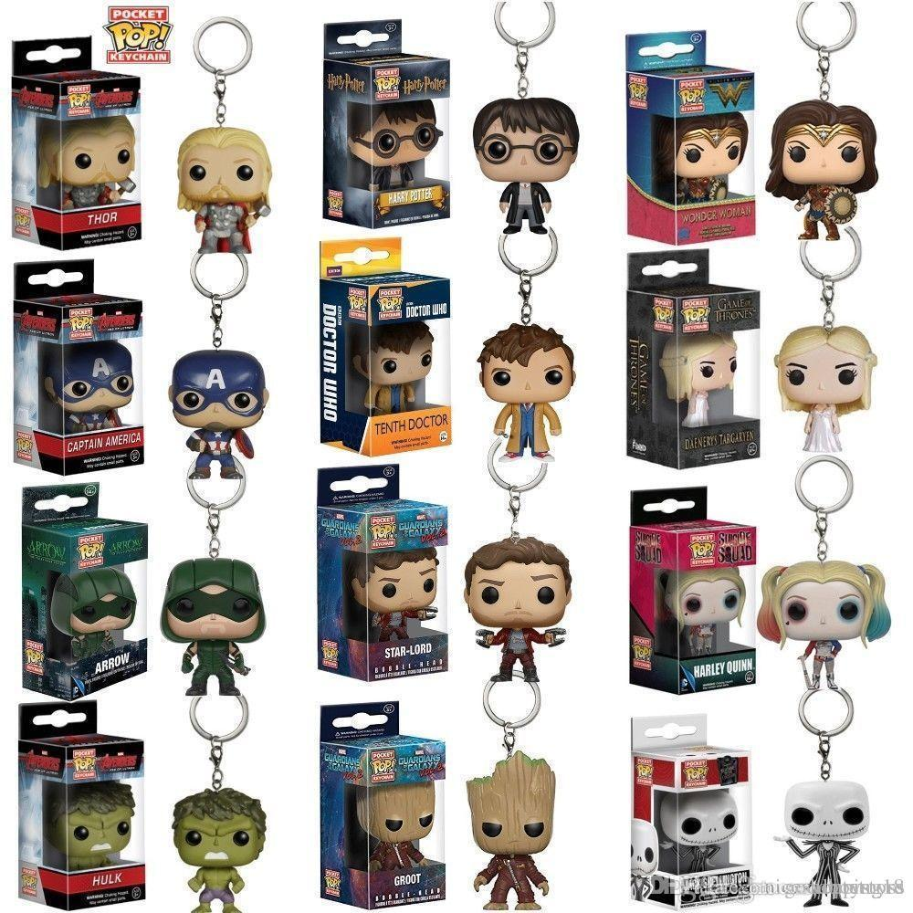 GOOD T01 Funko Pocket Pop! Keychain Baby Groot, Batman, DeadPool Vinyl Figure Keyring Hot 10pcs wholesales