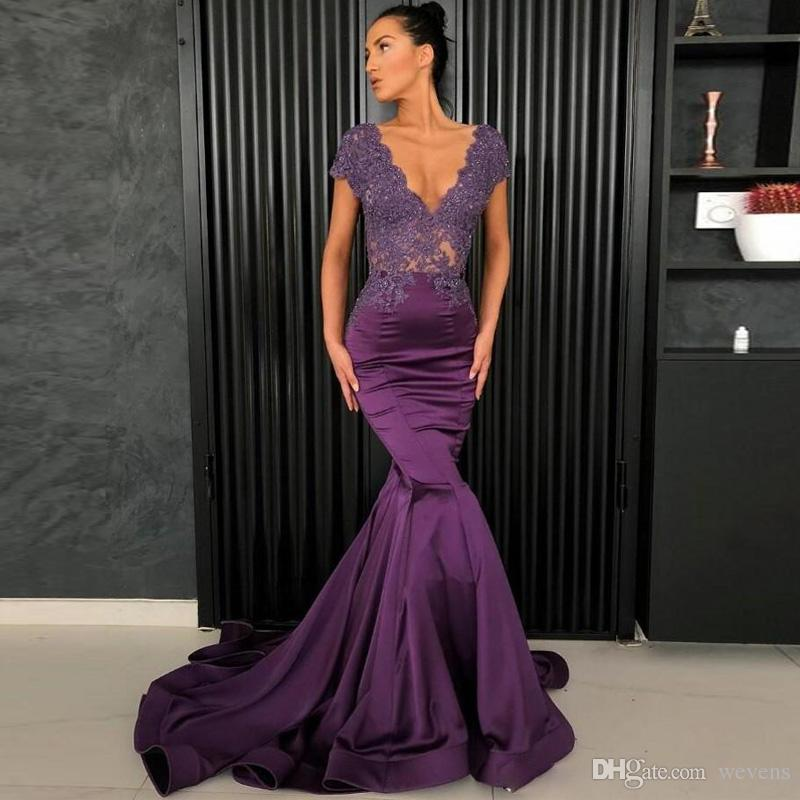 40644a560ed Purple Mermaid Lace Evening Dresses V Neck Short Sleeve Appliques With  Beads Prom Gown Satin See Through Back Party Gowns Vestidos De Fiesta  Designer ...