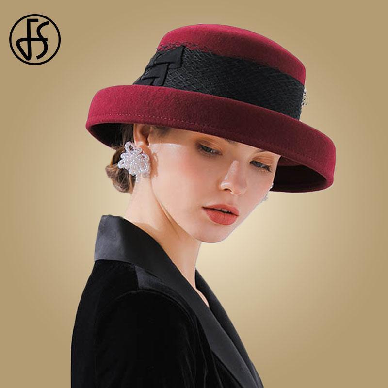 2019 FS 2018 Wide Brim Hats Felt Women Wool Fedora Hat Bowknot Cloche  Female Wine Red Black Fedoras Vintage Round Bowler Cap From Naughtie 7affd4533cd