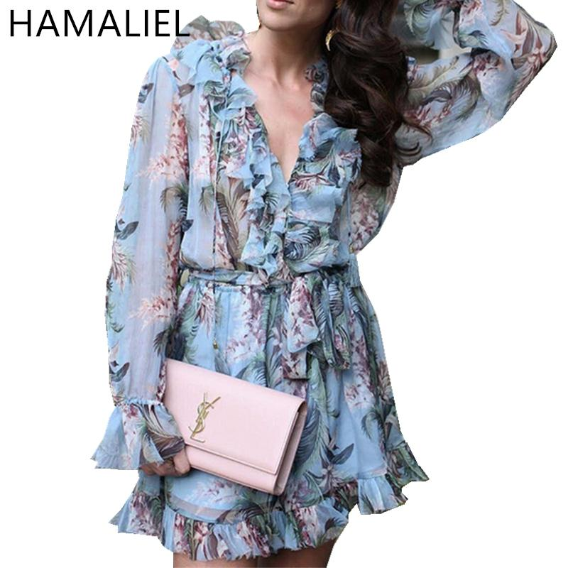 93d0815d279 2019 Runway Summer Women Rompers 2018 Fashion Blue Print Floral Long Sleeve  Silk Sexy V Neck Female Outfits Sashes Beach Jumpusits C19011501 From  Shen8408