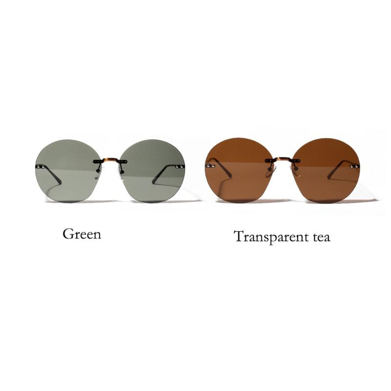 2019 retro round borderless hip hop clear color lens festival fashion sunglasses