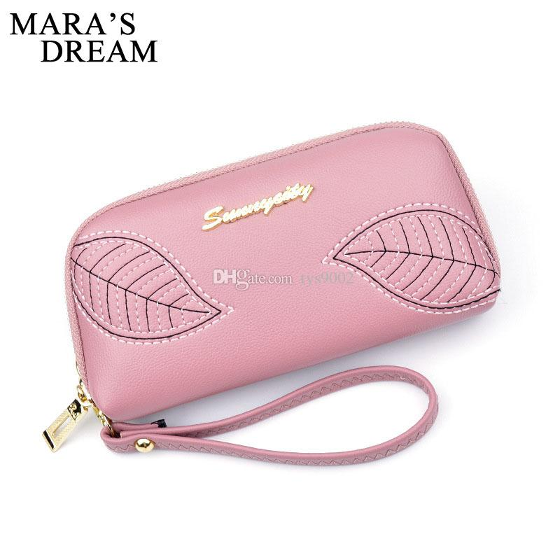 Women's New Handbag Embroidered Leaves Long Zipper Hand Wallet Fashion Coin Purse Large Capacity Mobile Phone Bag
