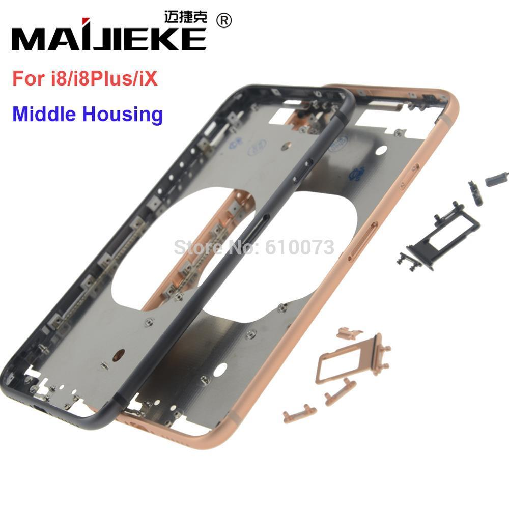 wholesale New Front Bezel Chassis Frame For iphone X 8 8G 8 Plus Back housing Middle Frame with Side Buttons Set Replacement