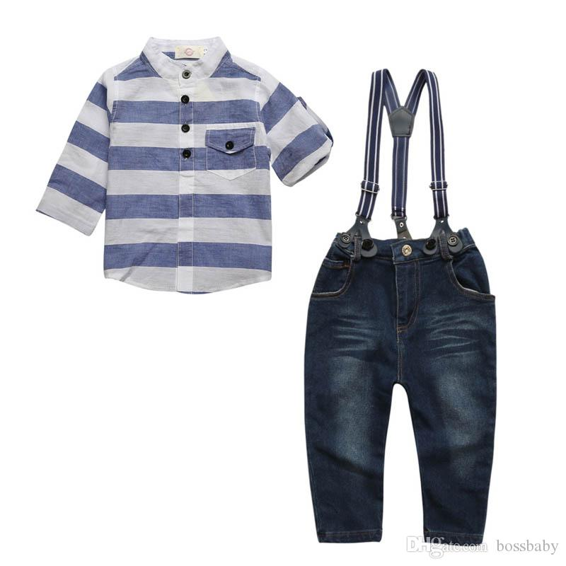 Kids Three-piece Suit Baby Boy Jeans Sets Standing Collar Short Sleeve Shirt Button Chest Pocket Coat Bib Pants Detachable 6