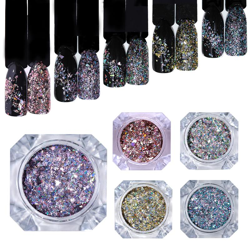 1 Box Rose Gold Flakes Sequins Holographic Nail Powder Paillette Manicure  Diy Nail Art Decoration For Uv Gel Polish