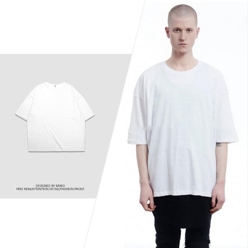 2019 New Arrive Hip-hop Solid T-shirt Oversize Extended Kanye West T Shirt  Cotton Justin Bieber Streewear T-shirts Swag Tee Tops