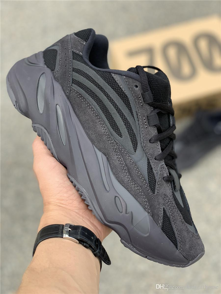promo code 5c9b9 17f62 2019 New 700 V2 Vanta Real Boost All Black Kanye West Running Shoes Mens  Women Designer Sneakers Trainers Sport Shoes 36-47 With Box