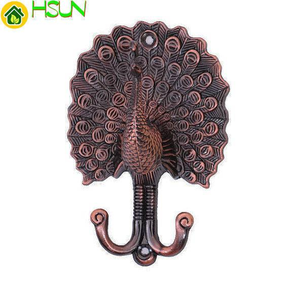 Peacock Curtain Tie Backs Decorative Hooks Unique Coat Hangers Wall Hooks Antique Copper Bathroom Towel Hook