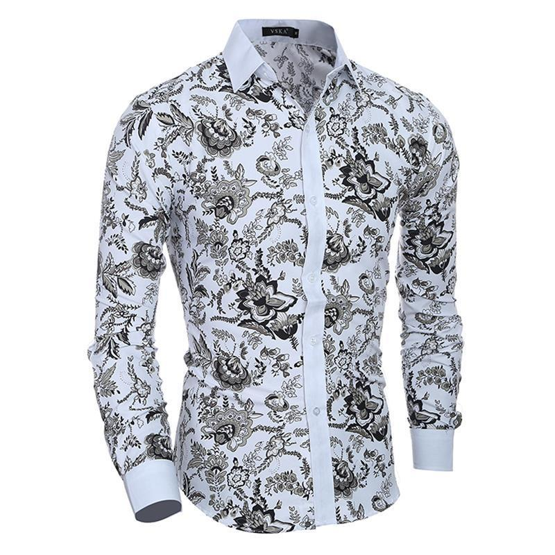 PD1 long-sleeved fashion classic floral print 2018 men's Korean Slim design shirt clothing casual long-sleeved shirt men