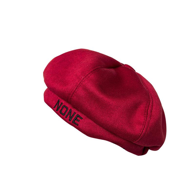47bc39681eef0 Hat Ladies Autumn And Winter Knitted Berets Female Suede Letter ...