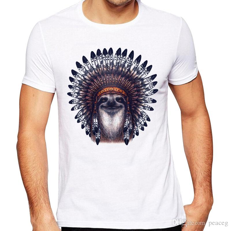 Chief t shirt Sloth of a tribes kurzarm Bradypod-Print fadeless T-Shirts Leisure weiße, farbechte Kleidung Reine Farbe modales T-Shirt