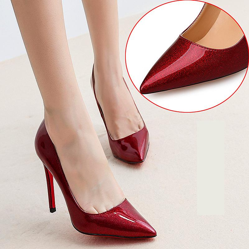 fa318c5f5d8 Sex patent leather pointed high-heeled pumps crystal shallow mouth stiletto  heel wedding shoes red sole 10cm dress shoes 3 colors
