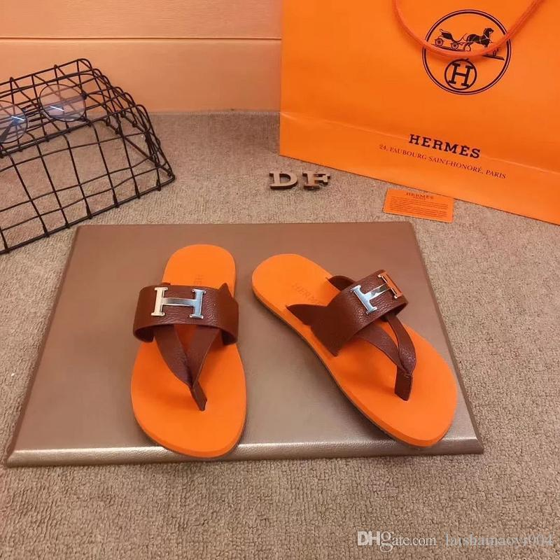 9c50ef6707d8 Best Quality Designers Men Slides Sandals Casual Shoes Double Buckle Famous  Brand Arizona Summer Ourdoor Beach Flip Flops Leather Slippers Moccasins  Thigh ...