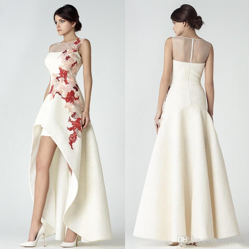 Elegant High Low Dresses Evening Wear White Saiid Kobeisy 2018 Sheer