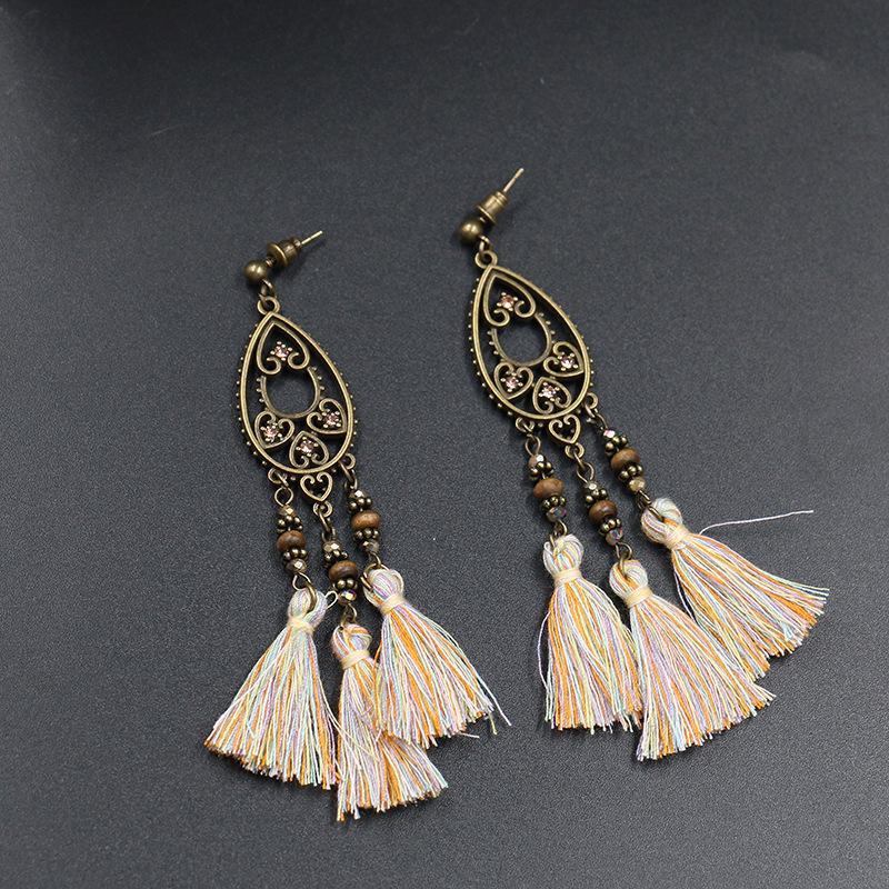 0727c38b0 2019 Rhinestone Droplets Long Tassel Stud Earring Wooden Bead Dangle 2019  Fashion Fringe Earrings Jewelry For Women Temperament Eardrop Gift From  Zp2388, ...