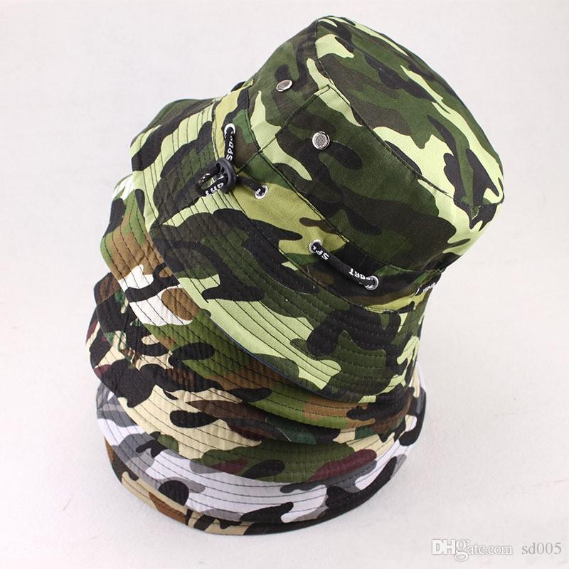 840566649 Camouflage Fishermans Hat Shading Rounded Edge Military Cap Men And Women  Outdoor Leisure Climb Sunscreen With Bandage 4 721tI
