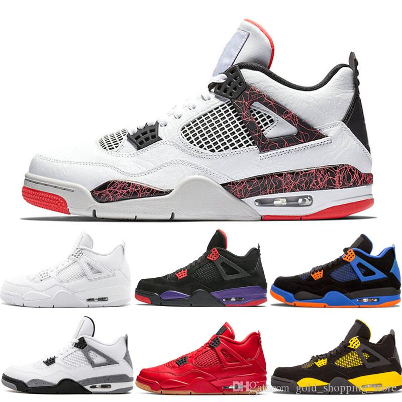 New Arrival Hot lava 4 Men Basketball shoes 4s Bred cool grey FIBA fire red Flight Nostalgia Pure Money mens trainers sports sneakers