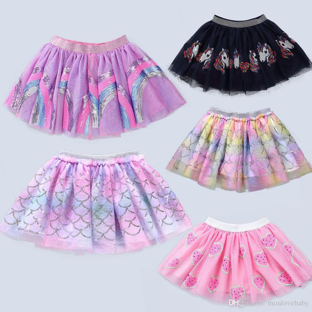 9styles Kids Tutu Skirt Baby Rainbow Mermaid Unicorn Sequin Embroidery Mesh Dress Girls Ballet Fancy Costume Colorful INS Skirts GGA2172