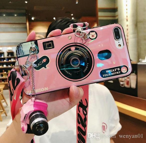 Stylish Cell Phone Case Fashion Camera Design with Lanyard Girl Phone Cover Shell for Apple iPhone X XS XR MAX 8 7 6 Plus DHL