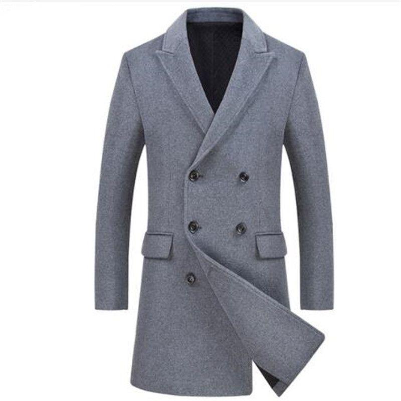 promo code fa145 1db05 Cappotto doppiopetto doppio petto uomo 2018 Cappotto invernale cachemire  uomo Slim Fit miscele di lana Trench manteau maschile Homme Cappotto