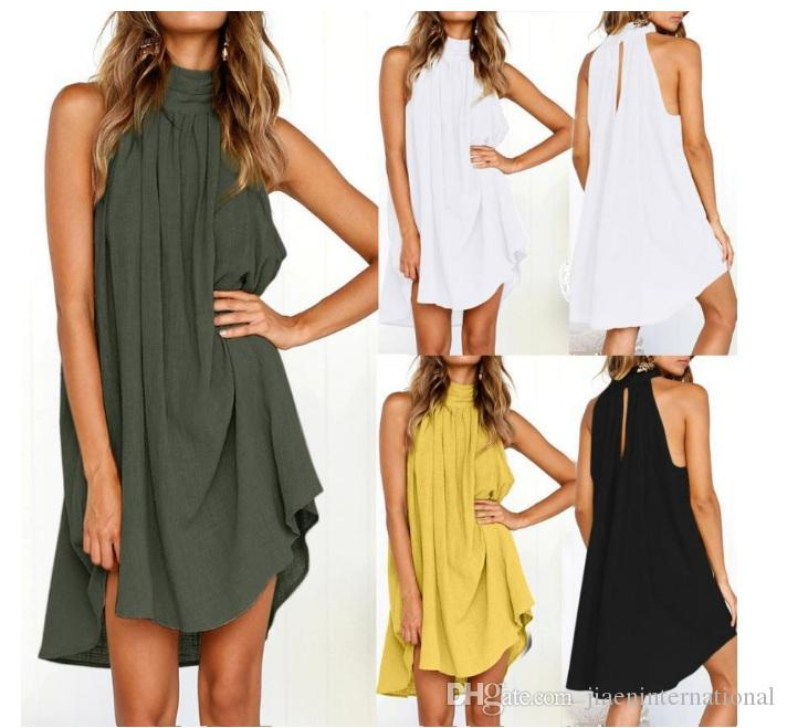 Summer Linen Vest Sundress Draped Elegant Girl Casual Spring Pleated Dress Solid Color Sleeveless Round Neck Party Night