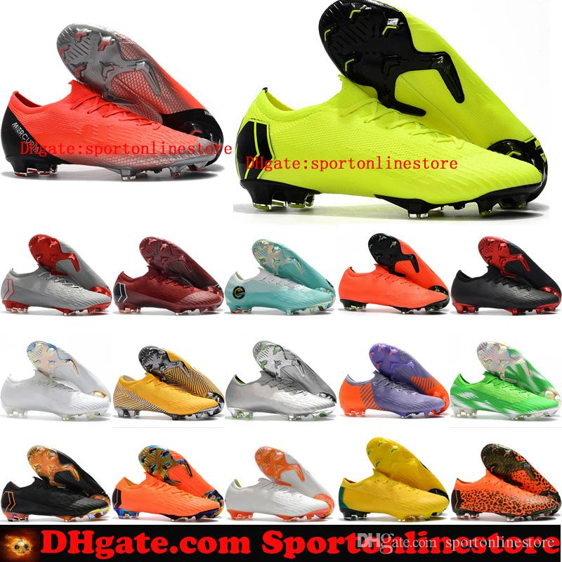 new styles 501bb 7b662 2019 mens soccer cleats Mercurial Vapor Fury VII Elite SE FG soccer shoes  Mercurial Superfly CR7 neymar football boots socks ACC black new