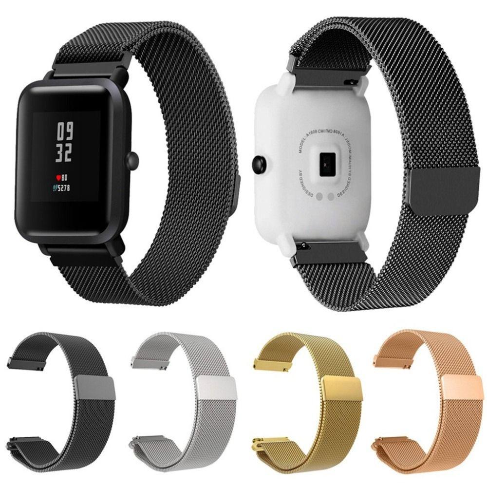 28f1ab2caee2 Pulsera de metal de acero inoxidable correa de reloj para Xiaomi Mi Amazfit  Bip reloj juvenil deporte pulsera reloj magnético reemplazo de banda