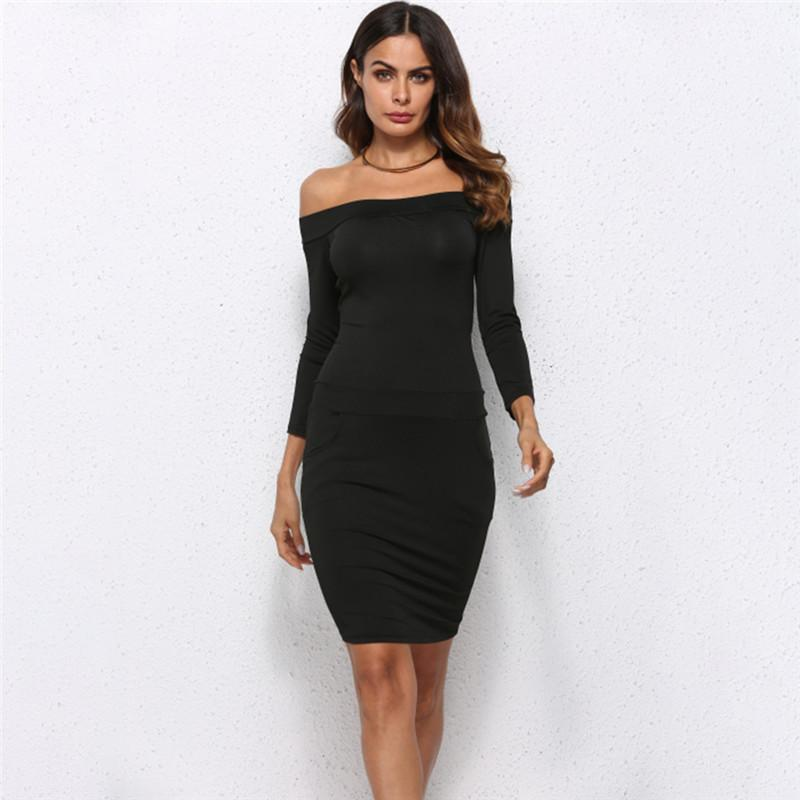 79d8348b6b4 2019 New Women Elegant Slash Neck Dress Knee Length Sexy Off The Shoulder  Bodycon Long Sleeve Dresses Vestidos Black Long Summer Dresses Silk Dress  From ...
