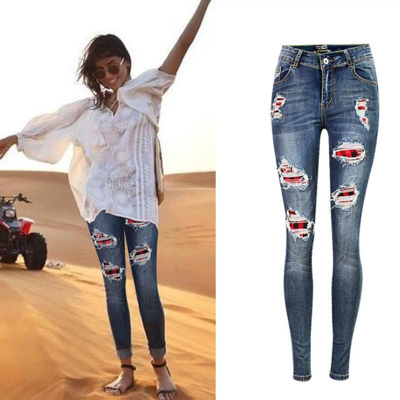 eb195d52056 Compre Sindydell Patchwork Elasticidad Jeans Mujer Moda Pantalones Para  Mujer Pintado Efecto Agujero Ripped Jeans Femme Envío Gratis A  46.61 Del  ...
