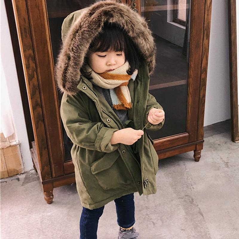 484131495 Korean Style Girls Jackets Kids Faux Fur Collar Outwear Coat Winter ...