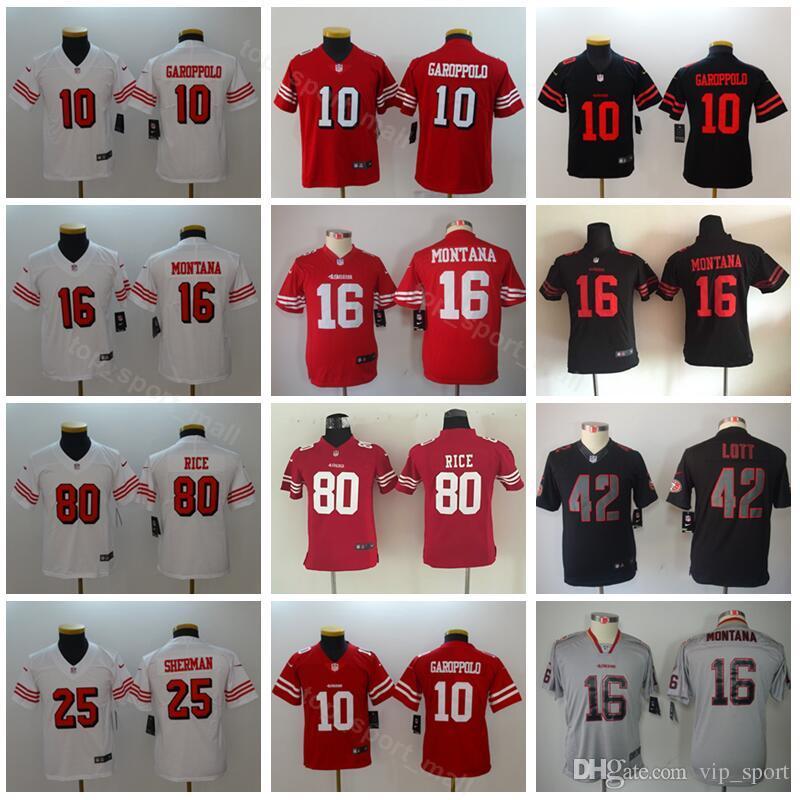 f0f8cac3 Youth San Francisco Football 49ers Jerseys Kids 10 Jimmy Garoppolo 25  Jimmie Ward 16 Joe Montana 42 Ronnie Lott 80 Jerry Rice