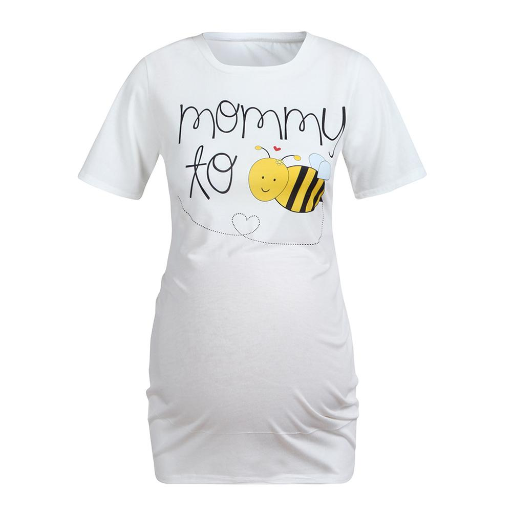Women Casual Short Clothing Cartoon Print Round Neck Pregnant Maternity Clothes Nursing Tops Breastfeeding T-Shirt Blouse New