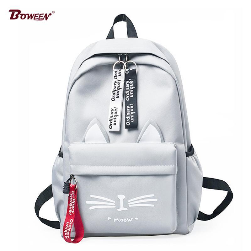 Cute Cartoon Cat Ears Nylon Schoolbag for Teenage Girls Backpack ... 48e0ccafeb