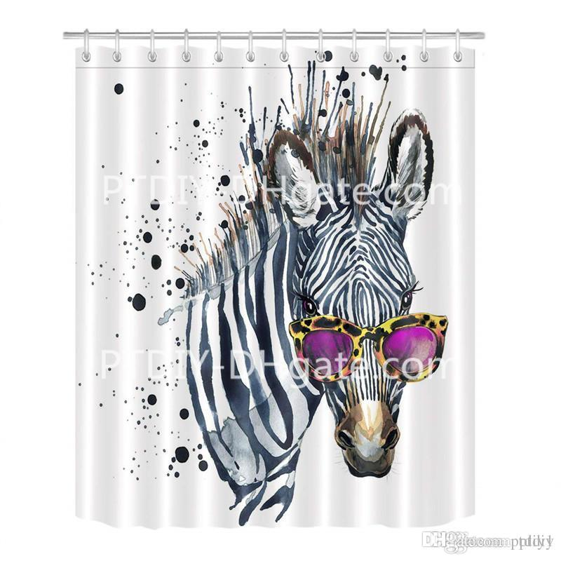 2019 Cool Zebra In Glasses Shower Curtain For Bathroom Chic Funky Funny Hipster Hippie Striped Animal Theme Print Mildew Resistant Waterproof From Ptdiy1