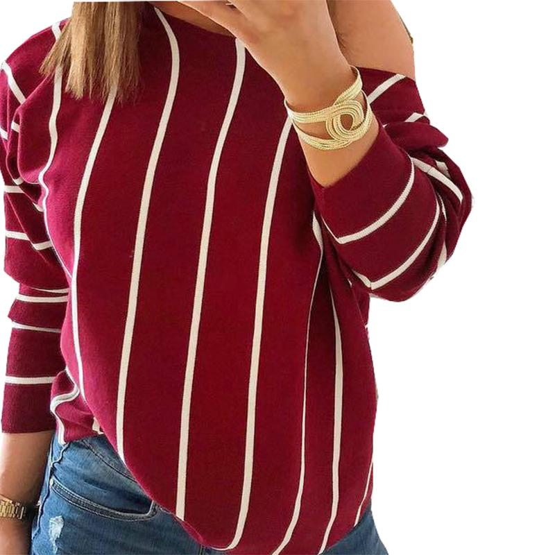 Compre Rayas Del Otoño De Las Mujeres Camisetas 2019 Sexy Fuera Del Hombro  Camiseta Femenina De Manga Larga Del O Cuello Camisetas Camiseta Camisetas  Blusas ... 3e4e63293f6