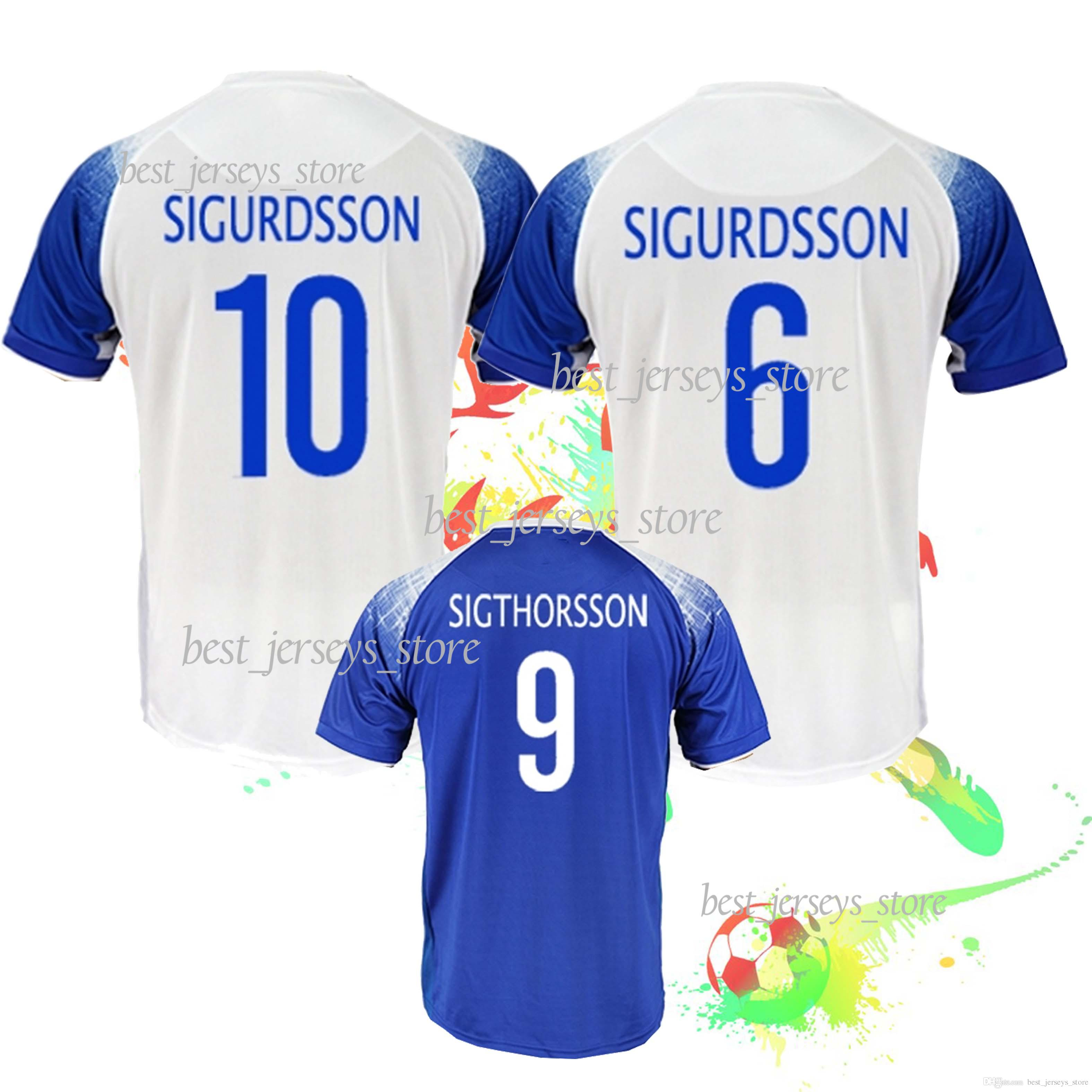 superior quality 8c00a 1513e GUDMUNDSSON Iceland soccer Jersey SIGTHORSSON G.SIGURDSSON TRAUSTASON  Football shirts FINNBOGASON INGASON new 2018 world cup