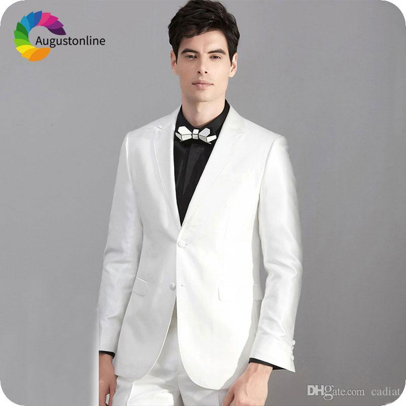 Acheter Italien Blanc Hommes Costumes De Mariage Personnaliser Homme Blazers  Slim Fit Mariée Tuxedos Costume Classique Homme 2 Pièce Costume De Groomsmen  ... 7a1bffed495