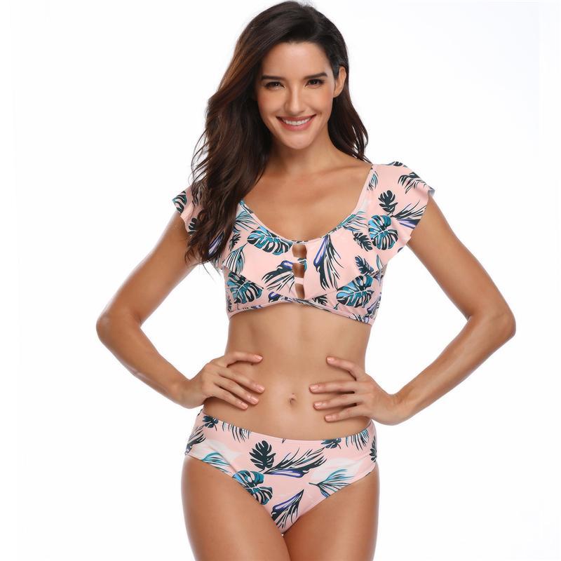 9fb8c10f3f74 Compre Traje De Baño 2019 Bikinis Mujeres Traje De Baño Sexy Ruffle ...
