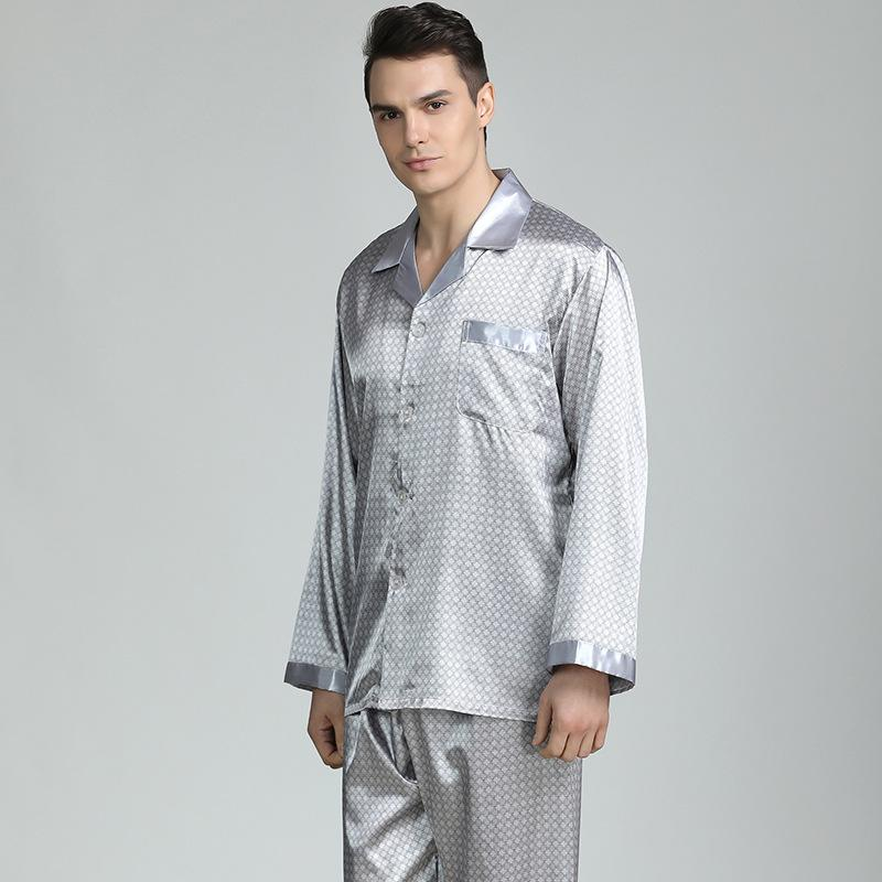 CEARPION Mens Pijama De Cetim Set Longo Manga Sleepwear Silky 2 pcs ShirtPants Casuais Nightgoen Lounge Wear 3XL Plus Size