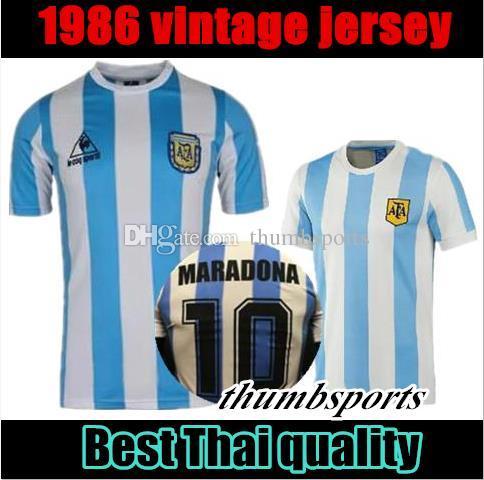 ec737c02f 2019 10 Free DHL!1978 1986 Argentina Maradona Home Soccer Jersey Retro  Version 86 78 Maradona Messi CANIGGIA Quality Football Shirt Batistuta In  From ...
