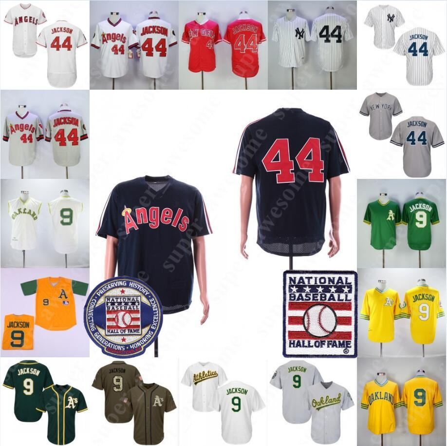 more photos e2085 adee5 Reggie Jackson Jersey With Hall of Fame Patch Oakland 9 Athletics Los  Angeles New York 44 Yankees Baseball Jerseys White Grey Green Pullover