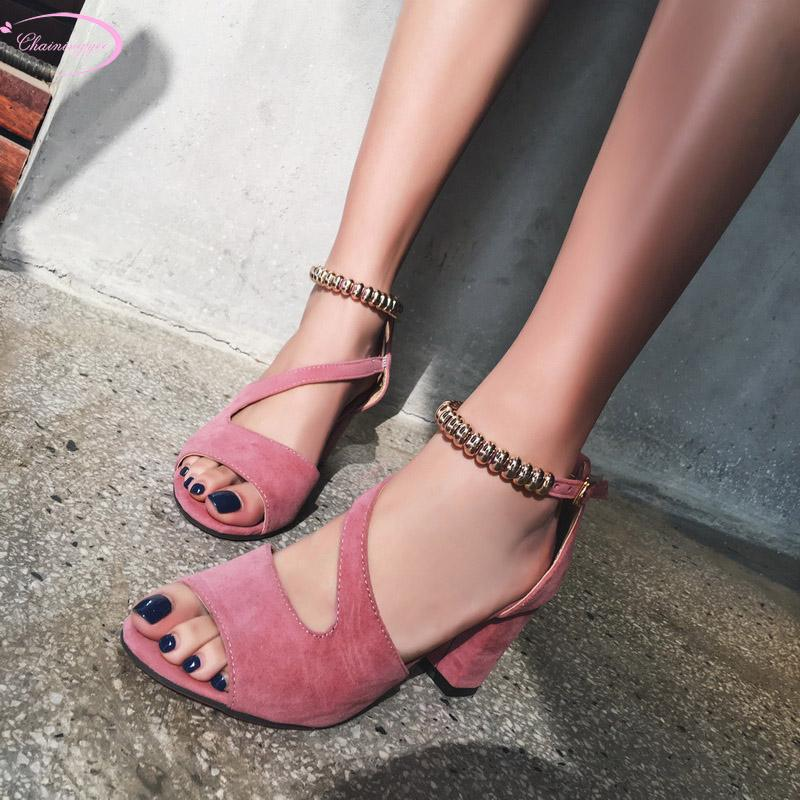 682943547b370c Casual Style Comfortable Peep Toe Nubuck Summer Sandals Fashion Metal Chain  Buckle Black Gray Pink High Heel Women S Shoes Flat Sandals Strappy Sandals  From ...