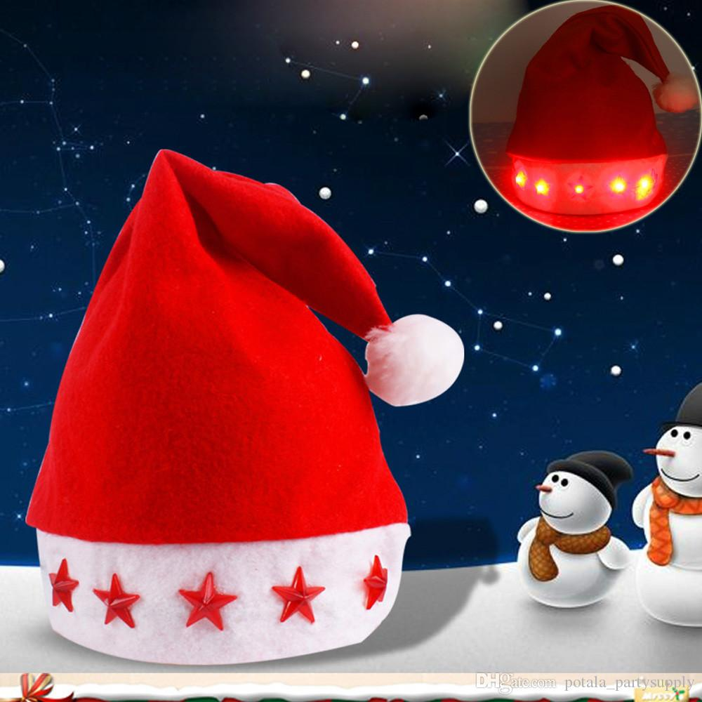 17485e5a90370 2019 LED Lighting Red Star Santa Claus Hats Hearts Snowflake New Xmas Tree  Soft Plush Electronic Christmas Cosplay Caps Decor Bright Adults From ...