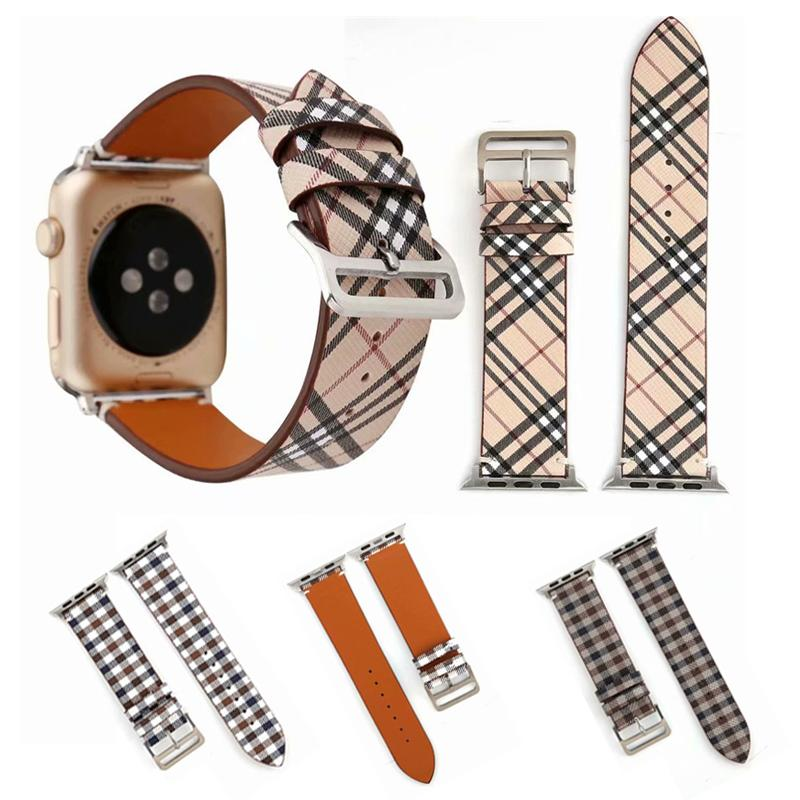 Classic Plaid Genuine Leather Watch Strap Bands For Apple Watch Band 38mm 42mm Replacement Designer Wristband Bracelet Clasp Buckle